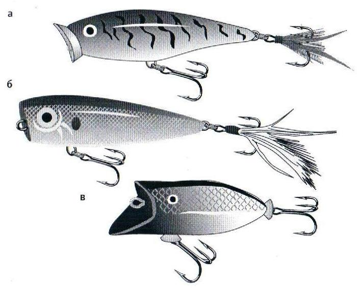 Рис.189. Попперы: а) RAPALA Skitter Pop, б) YO-ZURI Arms Popper, в) HEDDON